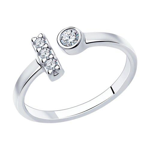 94013238 Кольцо на фалангу из серебра с двумя красталлами