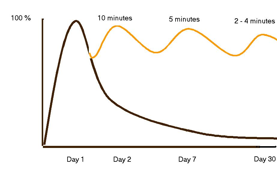 The  Curve of Forgetting describes how we retain or forget information that we learn/memorize. This example is based on memorizing that occurs during a one-hour lecture.  (from the University of Waterloo, Counselling Services)
