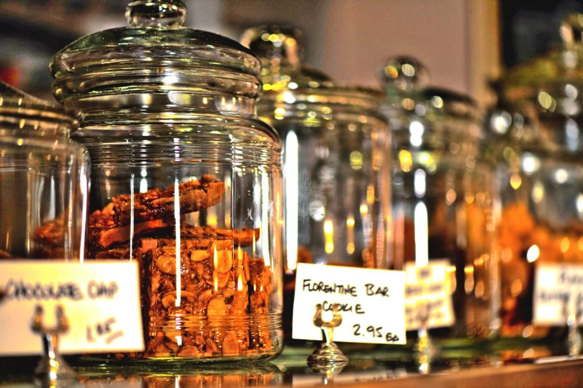 Cookie jar filled with Florentine Bar Cookies