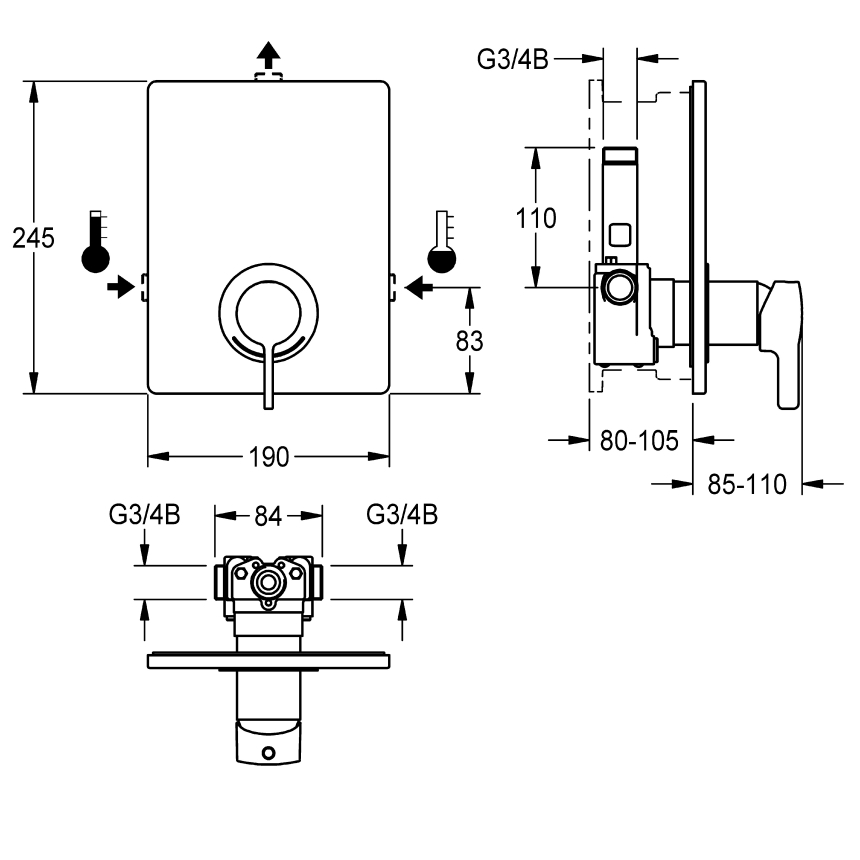 F5L-Mix single-lever in-wall mixer