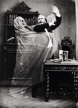 Eugène Thiébault (French, born 1825) Henri Robin and a Specter, 1863 Albumen silver print 22.9 x 17.4 cm Collection of Gérard Lévy, Paris