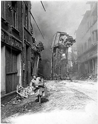 A woman runs for her life from an AT-AT.