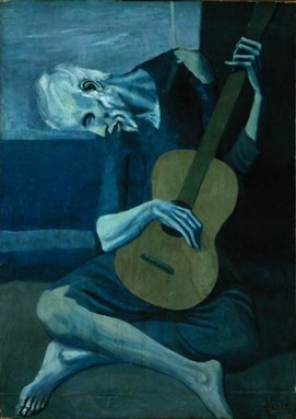 The Old Guitarist, painted in 1903 by Pablo Picasso, just after the suicide death of Picasso's close friend, Casagemas