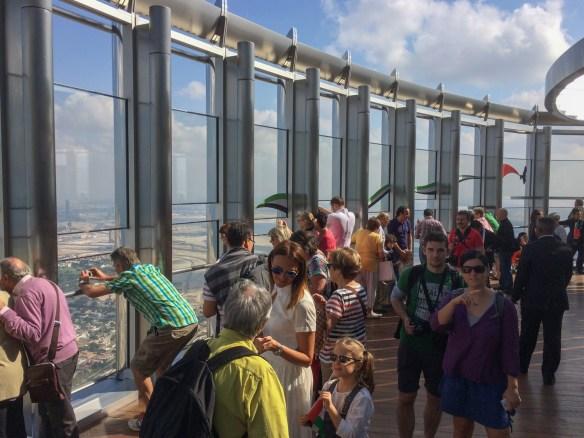 Visitors to the Burj Kalifa's 122nd floor Observation Deck.