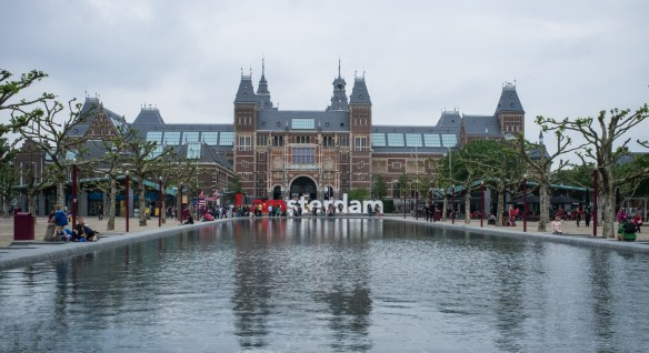 The Rijksmuseum and reflecting pool in Amsterdam.