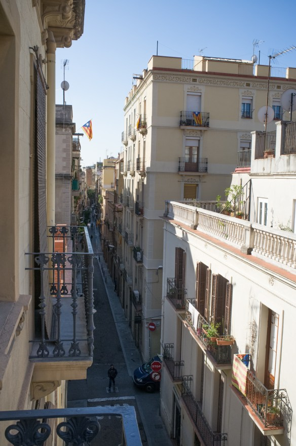 The narrow and vibrant streets of Barcelona's Gracia neighborhood.