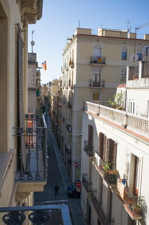 The narrow and vibrant streets of Barcelona's Gracia neighborhood.