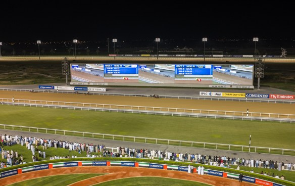 The vast and elegant Meydan Race Track, one of the world's finest horse racing venues.