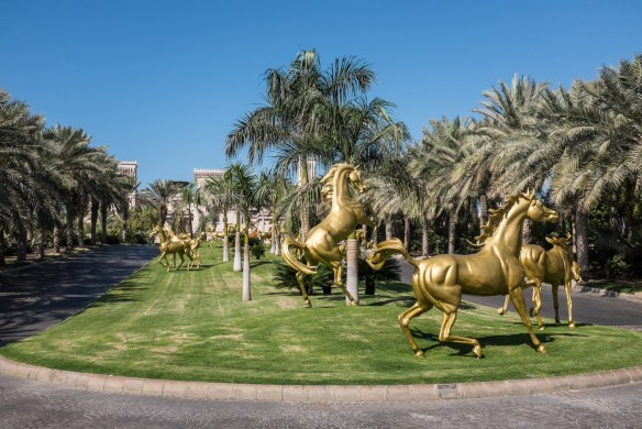 Magnificent Arabian horse sculpture at the grand entrance to the Madinat Jumeirah resort depict the Emirati's deep love for horses.