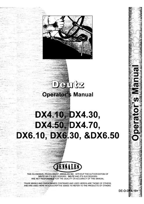 Manual service tractor deutz DX 4.10, DX 4.50, DX 4.70