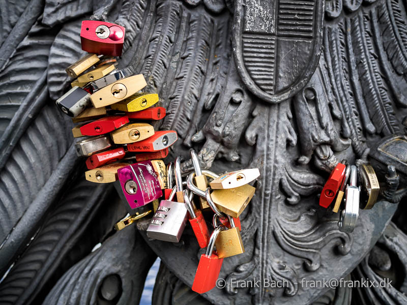 Love padlocks in many colors