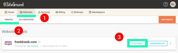 網站架設 :Site Tools 進入位置:架設網站軟體