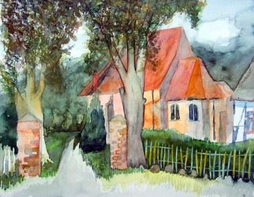 Kirche in Middelhagen (c) Aquarell von Frank Koebsch