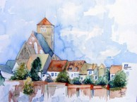 Stadtmauer bei der Nikolaikirche (c) Aquarell von Frank Koebsch