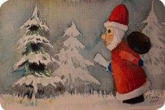 Von draußen, vom Walde komm ich her (c) Miniatur in Aquarell von Frank Koebsch