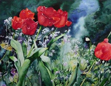 Lichtspiele (c) ein Tulpen Aquarell von Hanka Koebsch