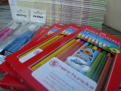 Faber Castel Colour Grip Stifte, da Vinci Pinsel und Hahnemühlepapier (c) FRank Koebsch