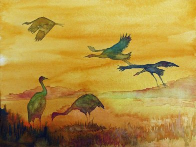 Kraniche bei Sonnenuntergang (c) Aquarell Frank Koebsch