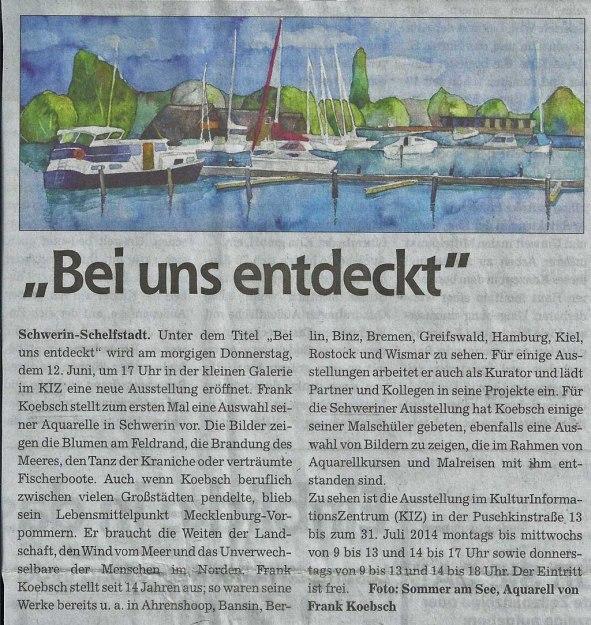 Der Schweriner Express berichtet über die Ausstellung von Frank Koebsch