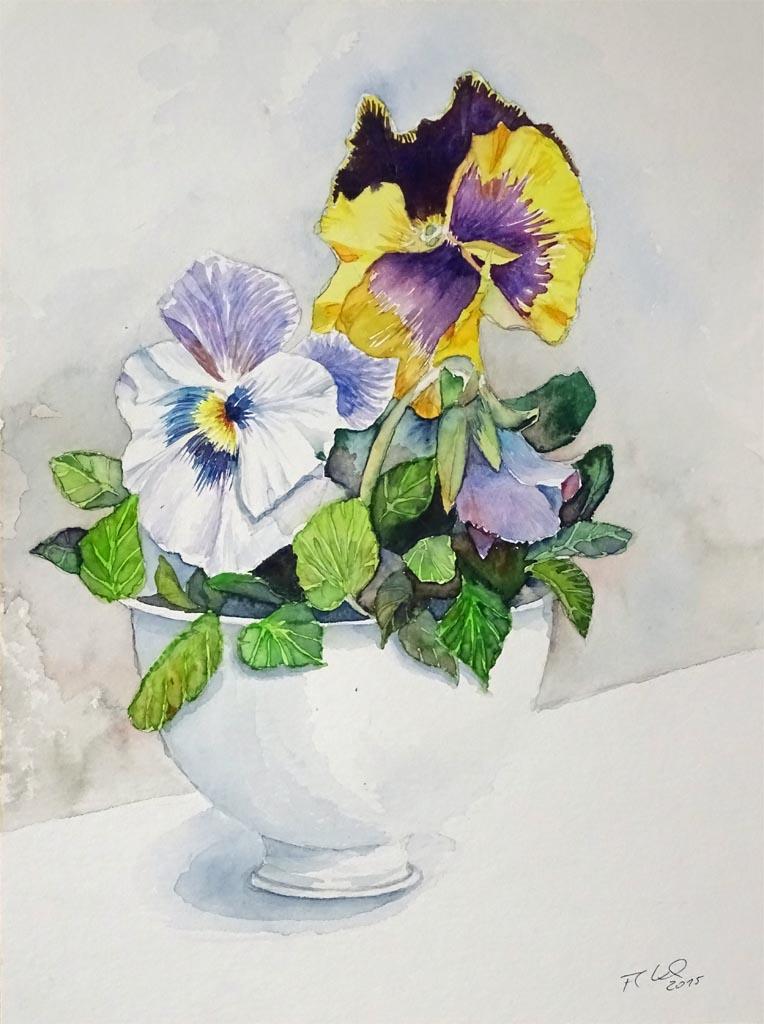 Blumen  Blten in Aquarell  Bilder Aquarelle vom Meer  mehr  von Frank Koebsch