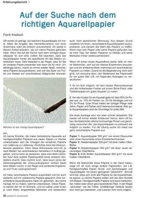 Auf der Suche nach dem richtigen Aquarellpapier - Ein Artikel von Frank Koebsch in der Palette 4 - 2016 S 42