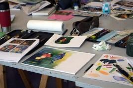 Arbeiten der Malschüler im dem Aquarellkurs Laternenkinder (c) FRank Koebsch (1)