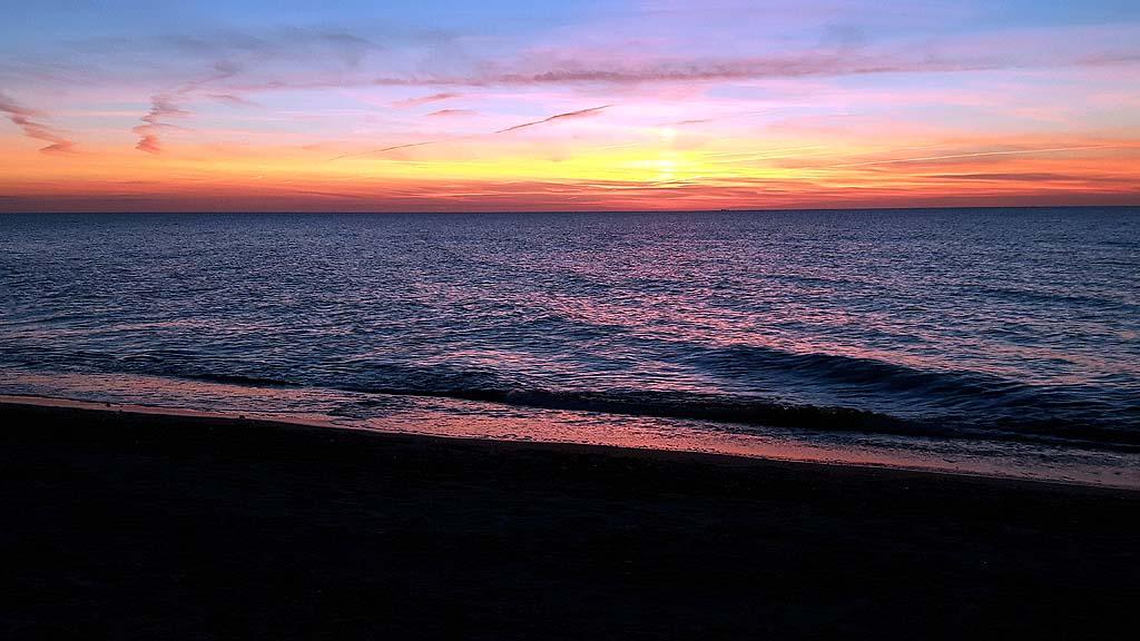 Sonnenuntergang im Herbst  Aquarell von Frank Koebsch  Bilder Aquarelle vom Meer  mehr  von