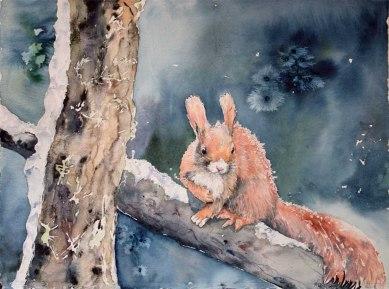 Besetzt (c) Ein Eichhörnchen Aquarell von Hanka Koebsch