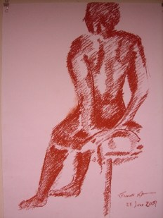 Seated Nude - Diagonal Linear Study