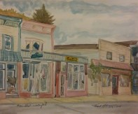 """SOLD - Main Street, Waterford,"""" Watercolor on Paper, $100"""