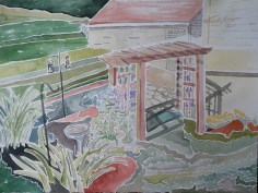 """SOLD - """"Bisher Backyard,"""" Watercolor on Paper"""