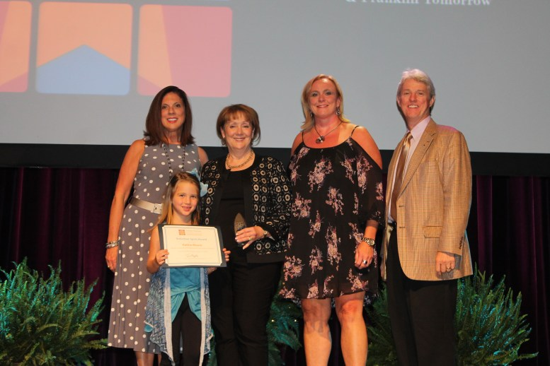 Marti-Veto with Volunteer Spirit Award winner Kathie Moore with her granddaughter Lily, Lisa Wurth, and Franlklin Tomorrow Board President Tim Murphy