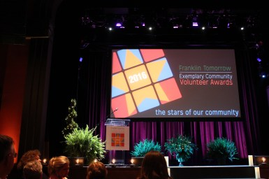 The stage at the Franklin Theatre for the awards.