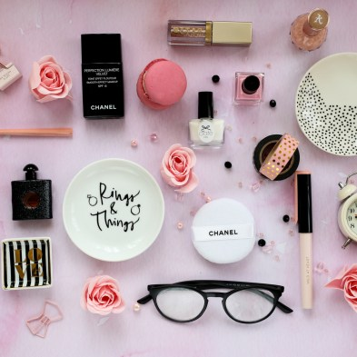 Blog Photography | 3 of My Favourite Flatlay Styles feat pink neatly laid flatlay