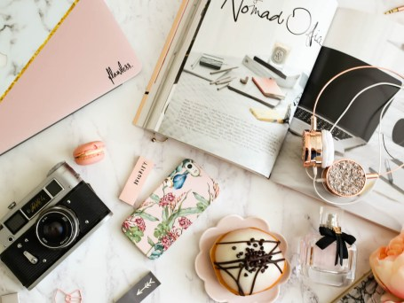 My Workday Essentials | feat Case App iphone case & Caseapp Macbook Skin styled with flowers & Grance Dore Love x Style x Life x book, camera & doughnut