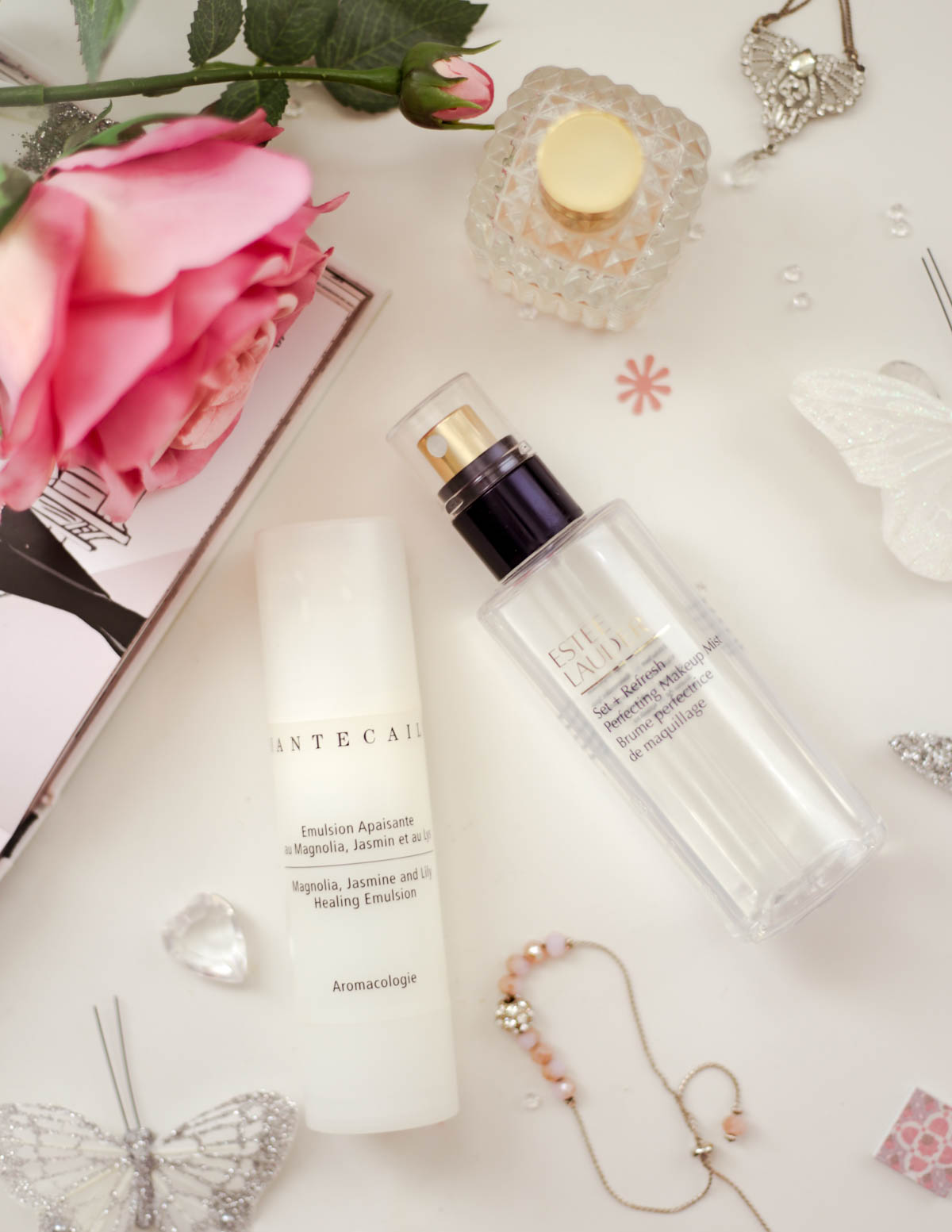 A-skincare-combo-that-will-keep-your-skin-hydrated-all-day-feat-Chantecaille-Magnolia-Jasmine-Lily-Healing-Emulsion-and-Estee-Lauder-Perfecting-Makeup-Mist-with-rose-and-book