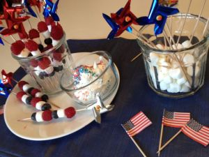 Berries and mini marshmallows on pinwheel skewers