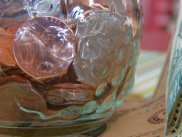 Pennies in a jar.