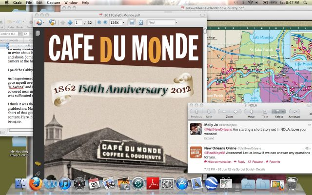 Frankly, My Dear . . . : NOLA research Cafe du Monde, map, New Orleans, manuscript by Molly Jo Realy