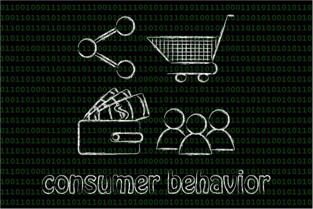 black image with the words consumer behavior with images describing the cycle
