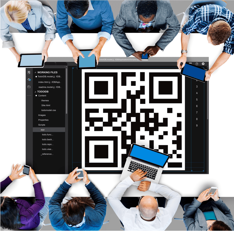 Team of employees at a conference table with a giant QR code at center of the table as the focal point
