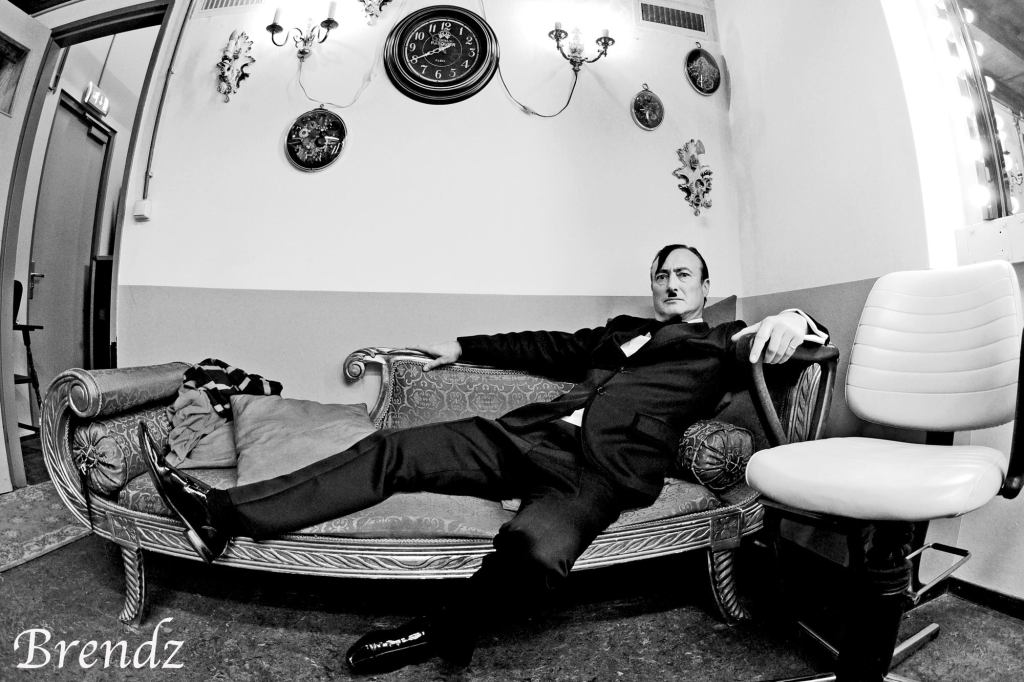 Frank relaxing back stage