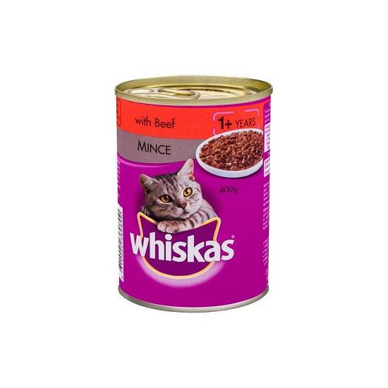 Whiskas 1+ Years Wet Cat Food Beef Mince 400g can