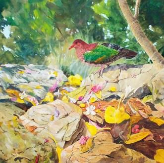 (246) September - Among The Fallen Petals 50 x 50 cm $325