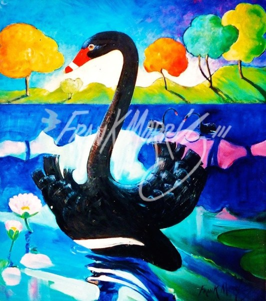 (Y674) 91 x 80 cm Crossing Swan Lake SOLD