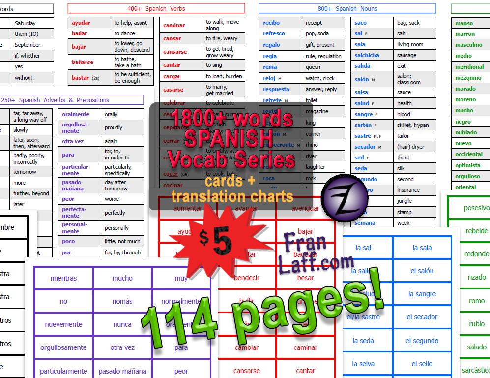 1800+ SPANISH Vocab Series – FranLaff com