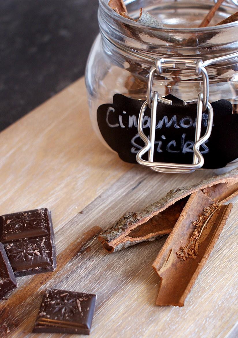 Cinnamon & Dark Chocolate on wood board
