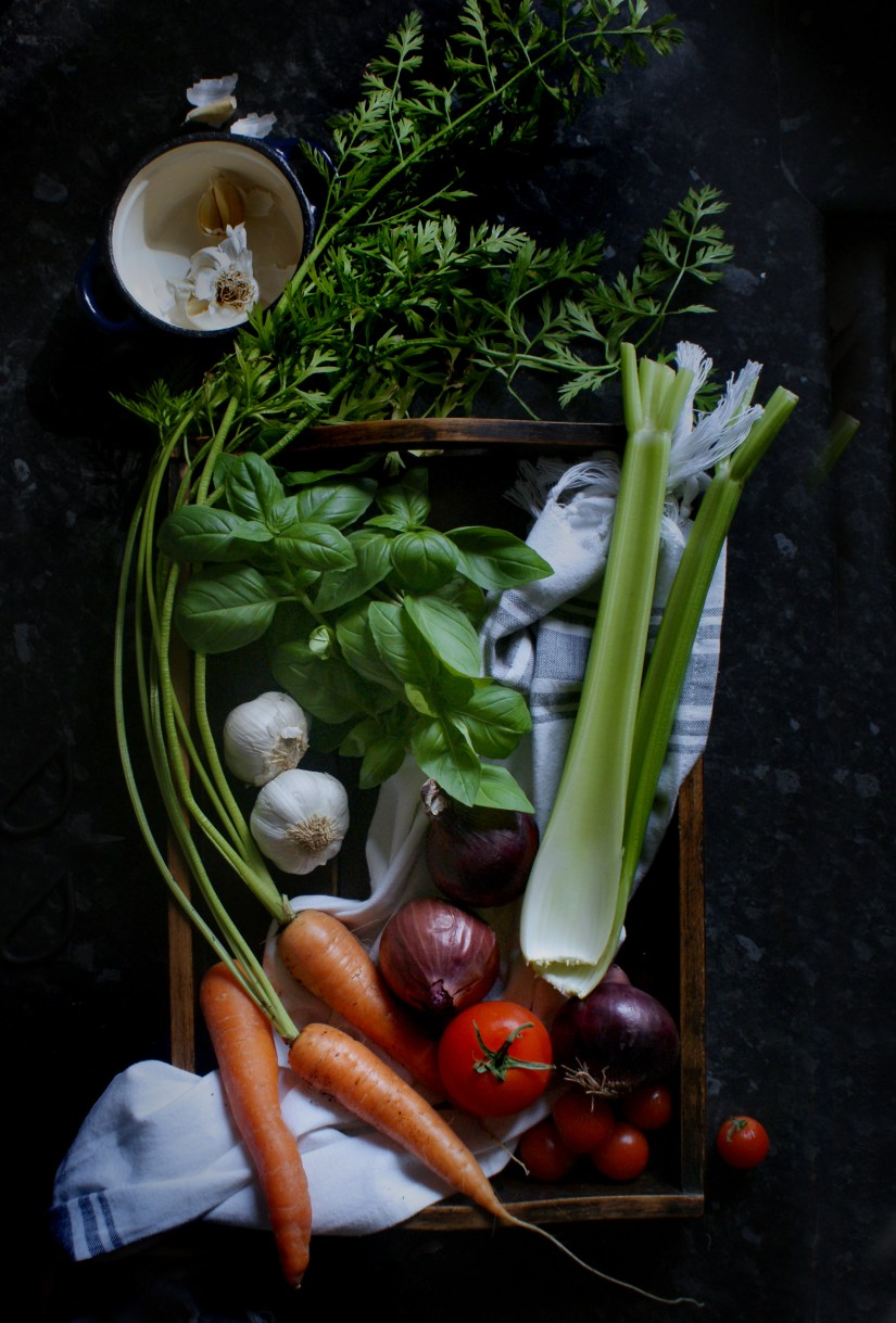 Ingredients in a wooden box