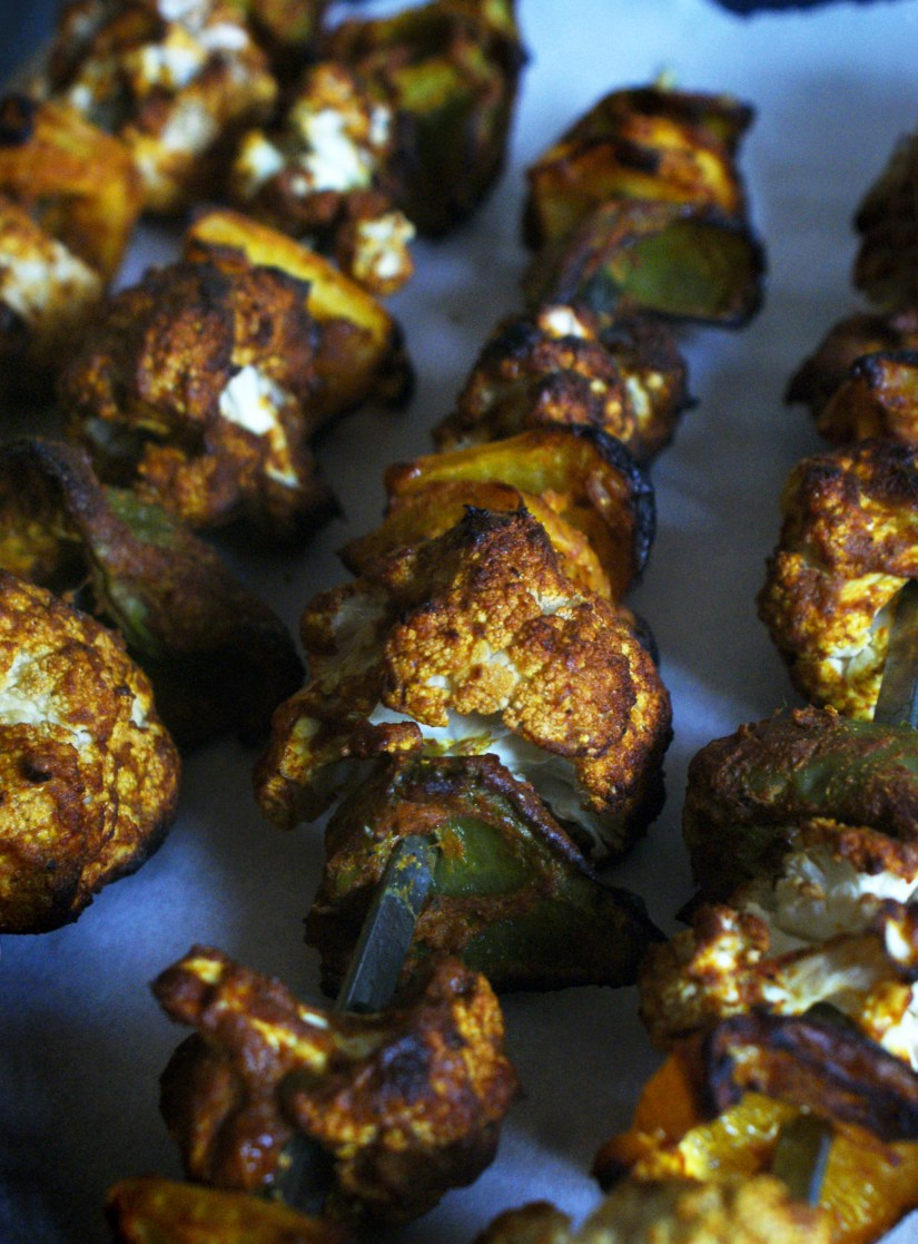 Charred tandoori veg skewers ready to eat!