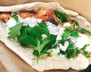 Greek style pitta with hummus and tzatziki